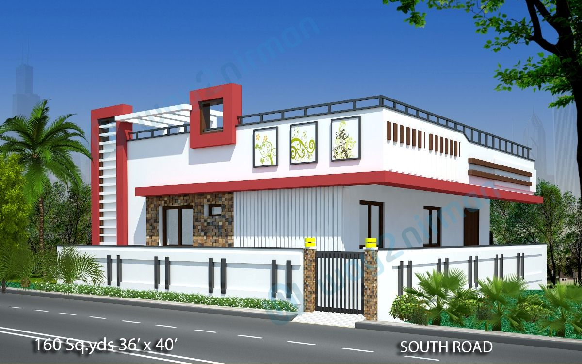 160 Sq Yds 36x40 Sq Ft South Face House 2bhk Elevation View Jpg 1200 750 Small House Elevation Design Independent House South Facing House