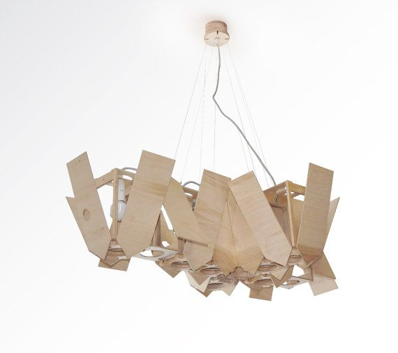 Nesting box wood pendant light lasercut chandelier lamp