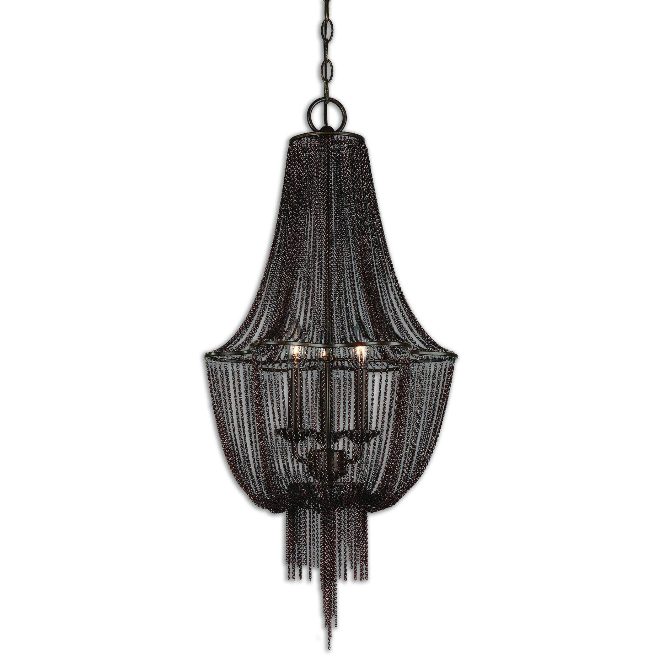 Made of dark oil rubbed bronze metal this Lezzeno chandelier