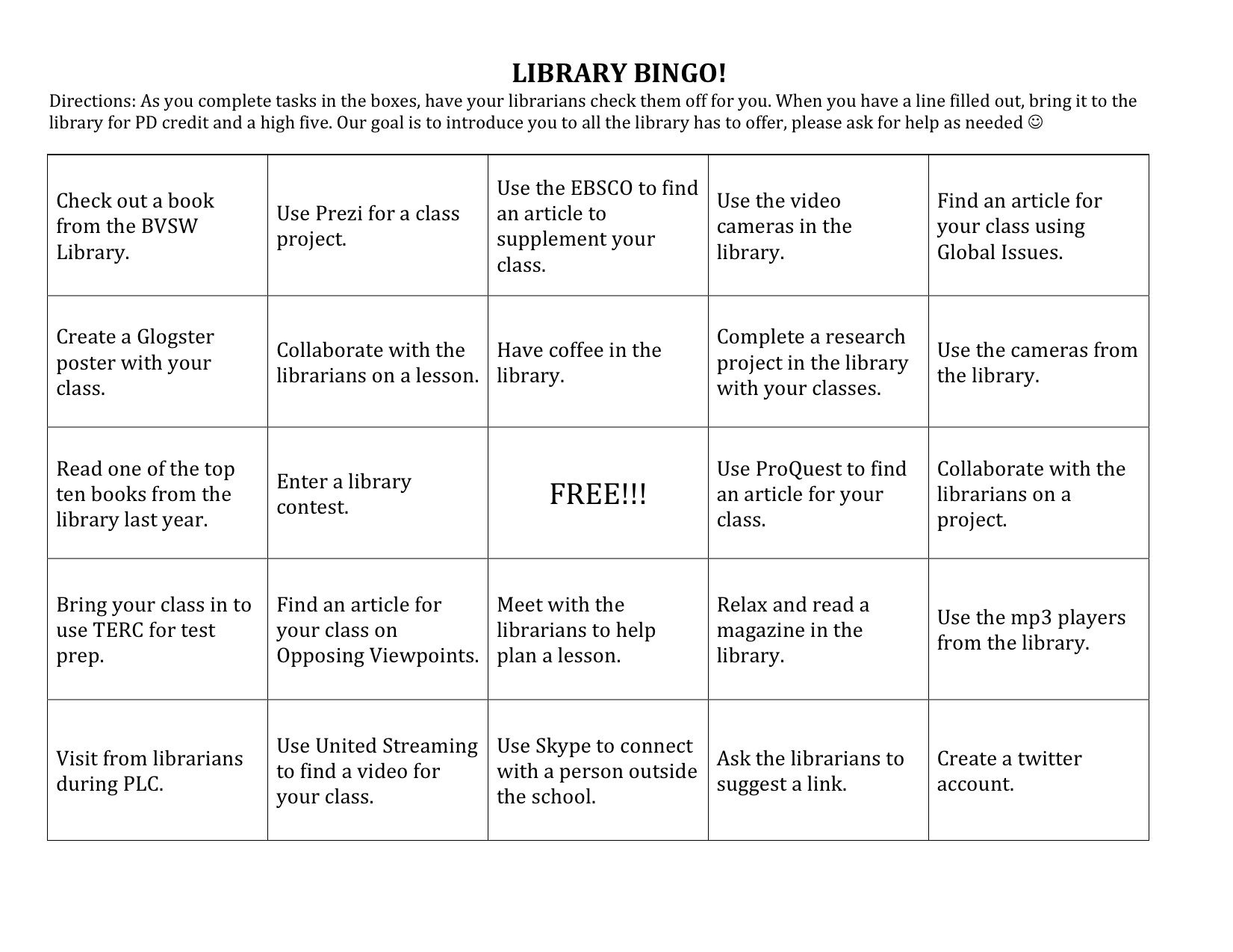 Library Bingo For Teachers