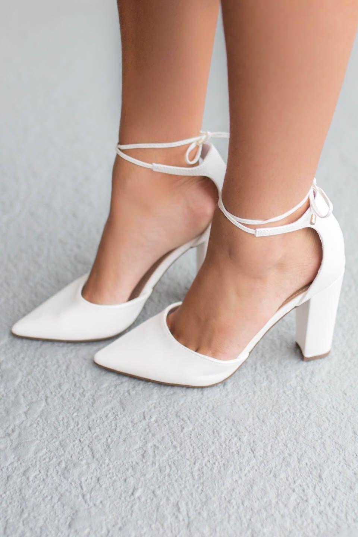 High Style White Chunky Heels | Heels