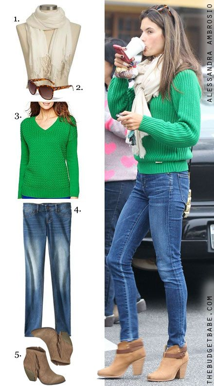 2732349062 bright green sweater with cream scarf and booties. Alessandra Ambrosio - The  Budget Babe