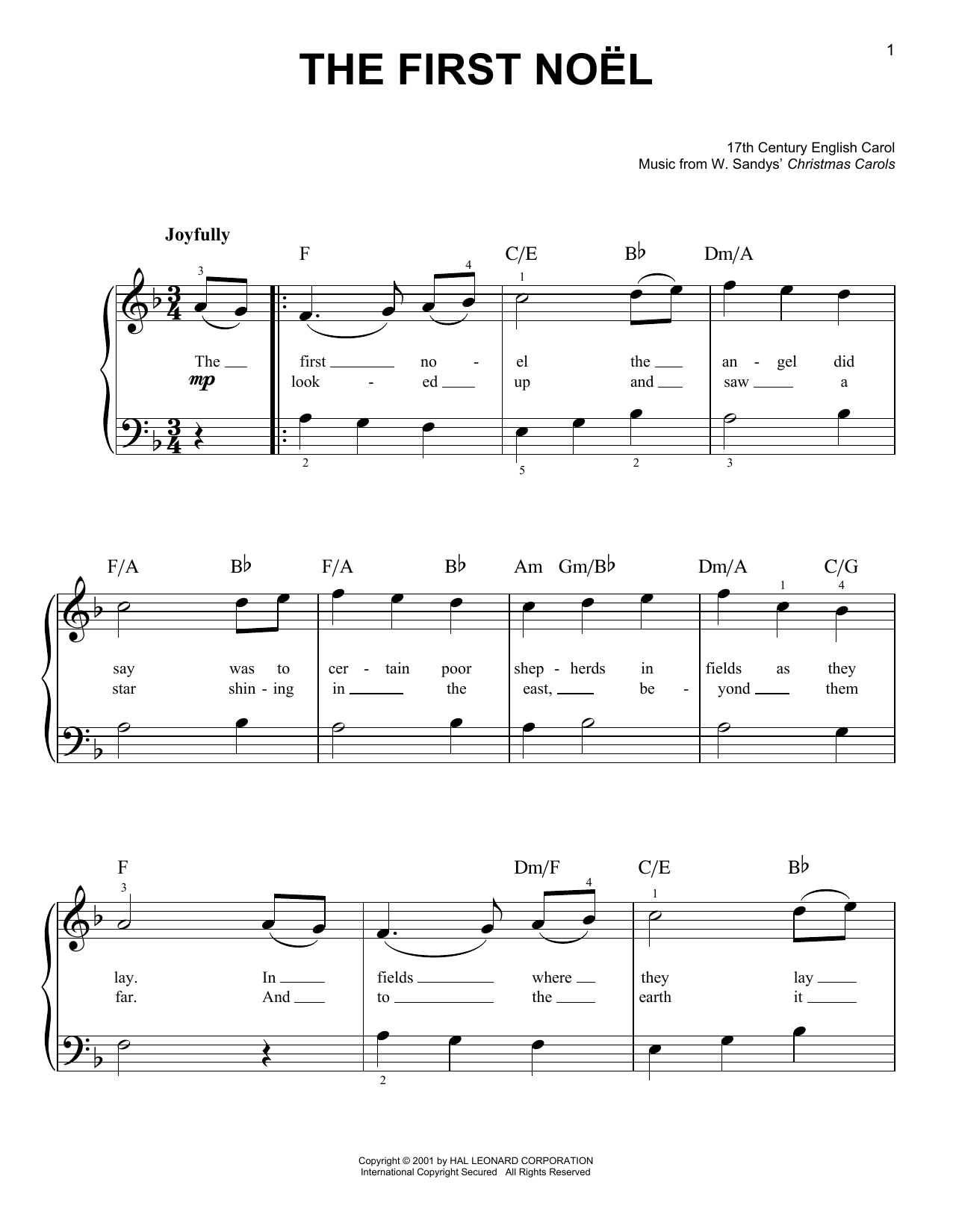 Christmas carol the first noel partition piano facile for Piano piano facile