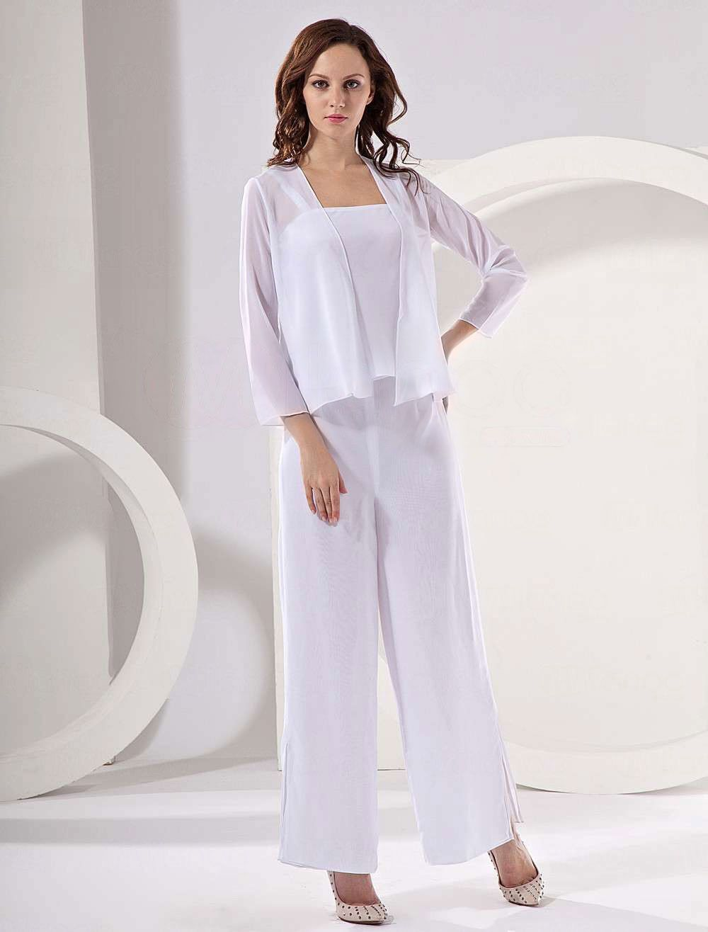 Elegant Champagne Chiffon Mother Of The Bride Pant Suits Wedding