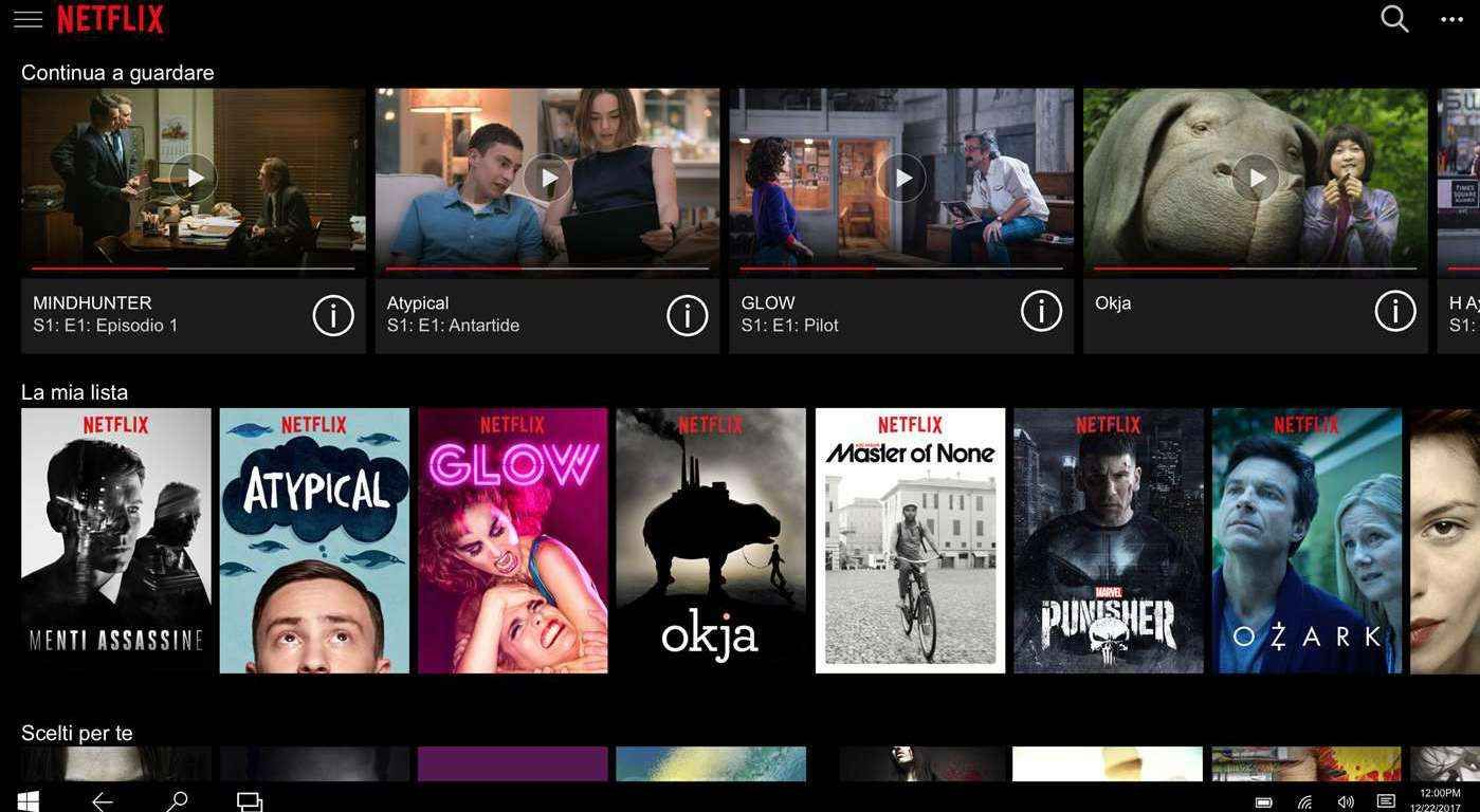 Prima Pagina Netflix, Windows phone, Microsoft