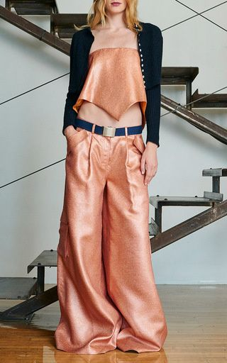 Copper Silk Lamé Delia's Pant by Rosie Assoulin for Preorder on Moda Operandi