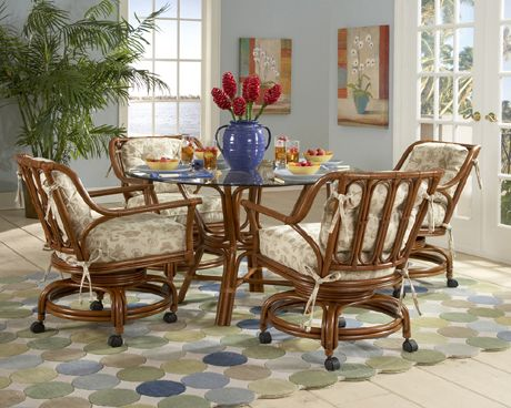 Charleston Dining Set With 4 Caster Swivel And Tilt Cane Chairs Tickle Imports American