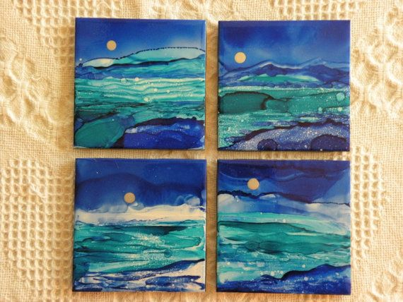 """Hand Painted Alcohol Ink Coasters - 4 1/4 x 4 1/4  Ceramic Tile - """"Blue Landscape""""- set of 4 Coasters- Alcohol Inks"""