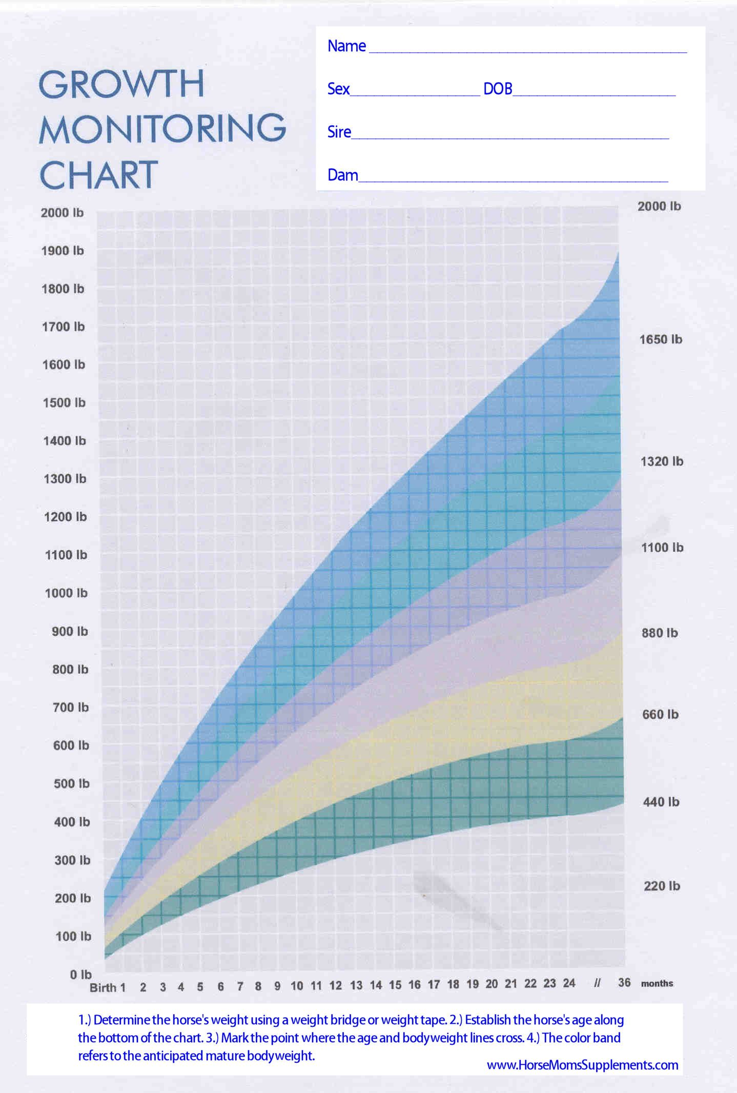 Growing Foal Growth Chart Growth Chart Foals Chart