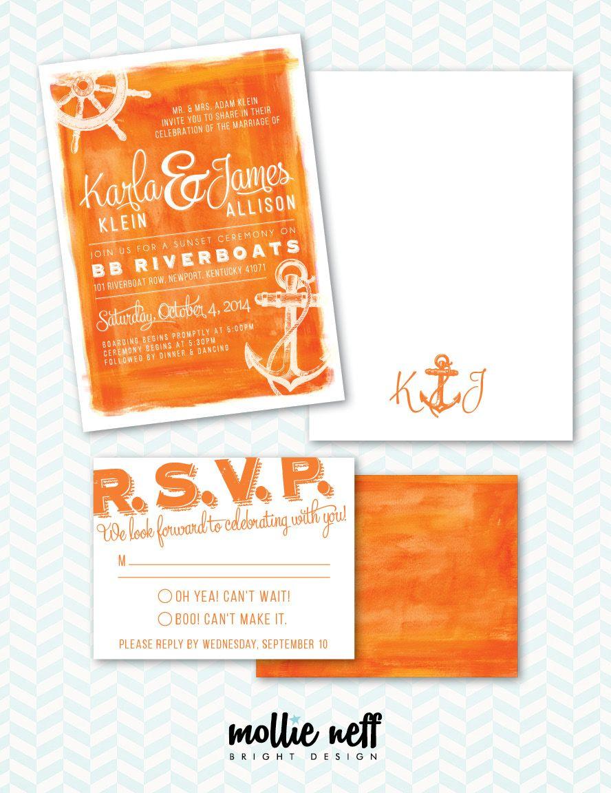 nautical boat theme wedding invitation stationery set including