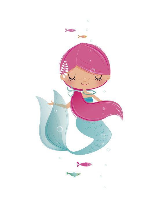Mermaid nursery art - girls nursery art, girls room decor, new baby