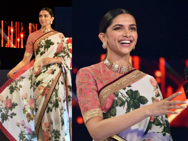 Deepika Padukone S Hand Printed Khadi Saree Is A Spring Dream Come Alive Saree Elegant Saree New Saree Blouse Designs