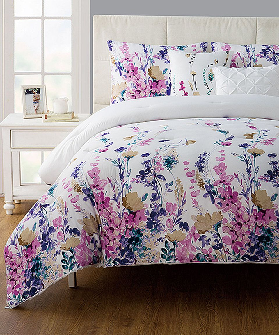 Take A Look At This White Amp Purple Floral Misha Five Piece