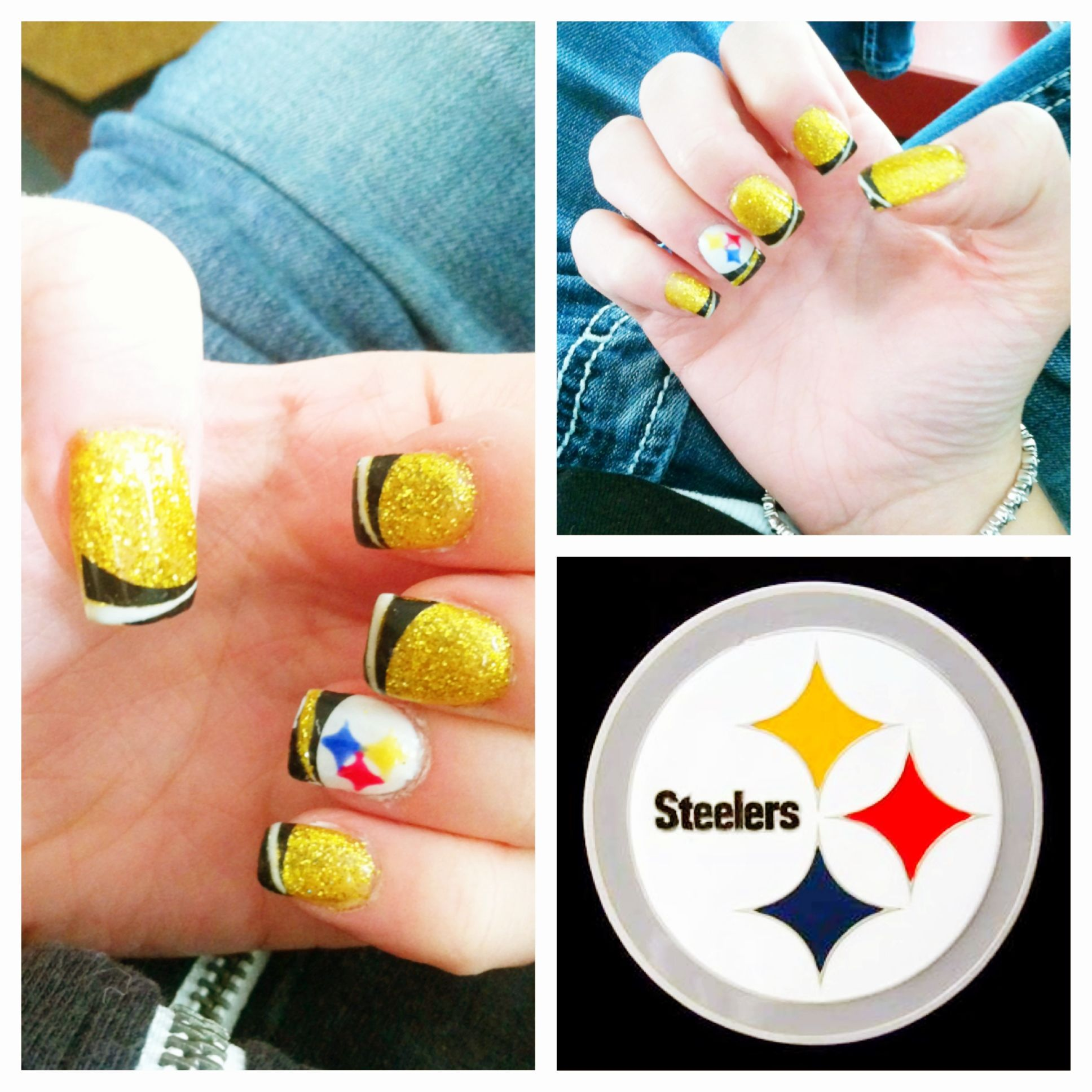 Steeler nation football nails pittsburgh steelers montana cute sports nail art prinsesfo Choice Image