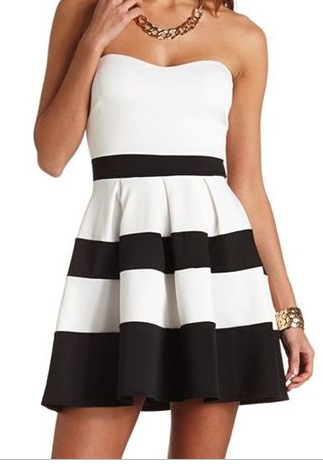 7d0860ed8a9c White Black Striped Strapless Pleated Dress - Up to Off on Clearance Sale    Sheinside