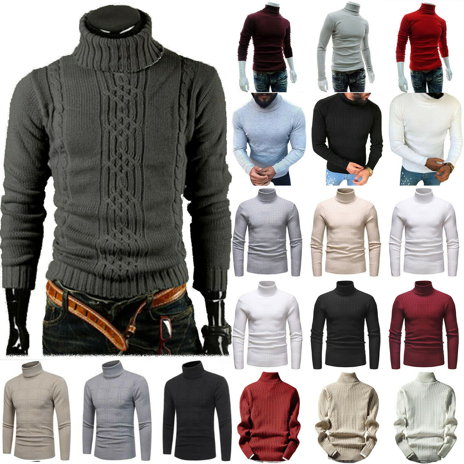 Mens Winter Knitted Roll High Turtle Neck Pullover Sweater Slim Fit Jumper Tops