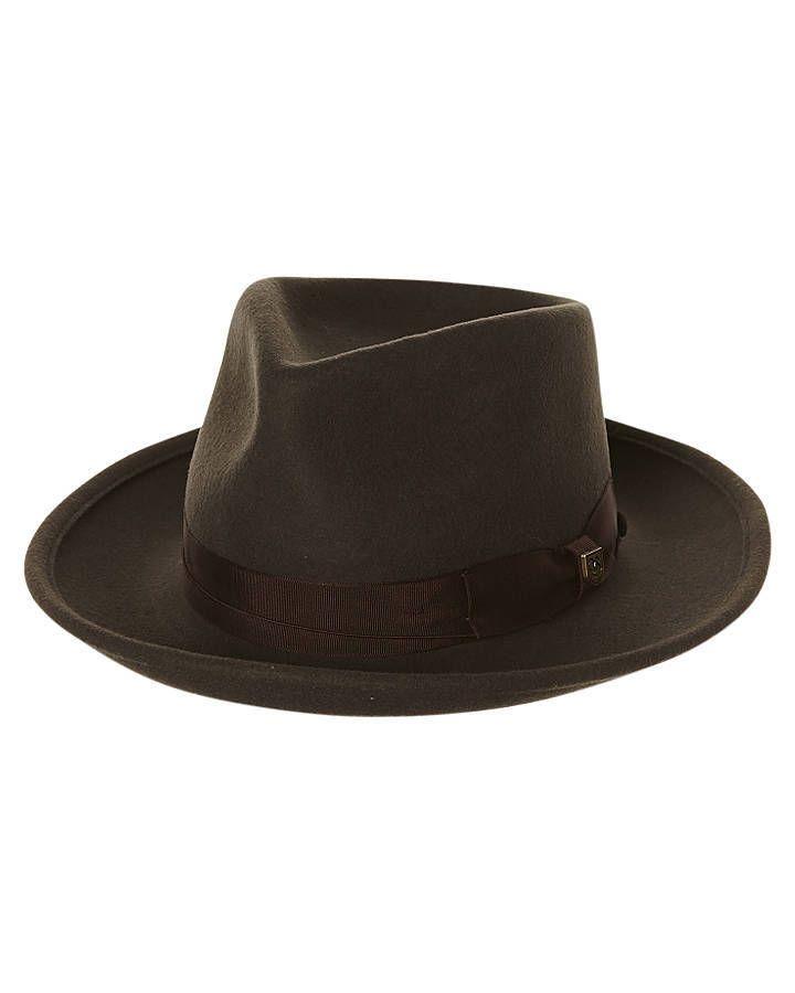 197dbefa7f1 New Brixton Men s Swindle Fedora Hat Leather Caps Beanies Grey ...