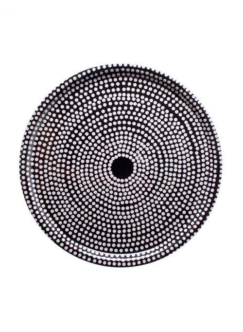 Oman pihan koivunrungon pätkän päällä! Täydellinen sohvapöytä! Pyöreä, mustavalkoinen Fokus-tarjotin. Halkaisija 46cm.