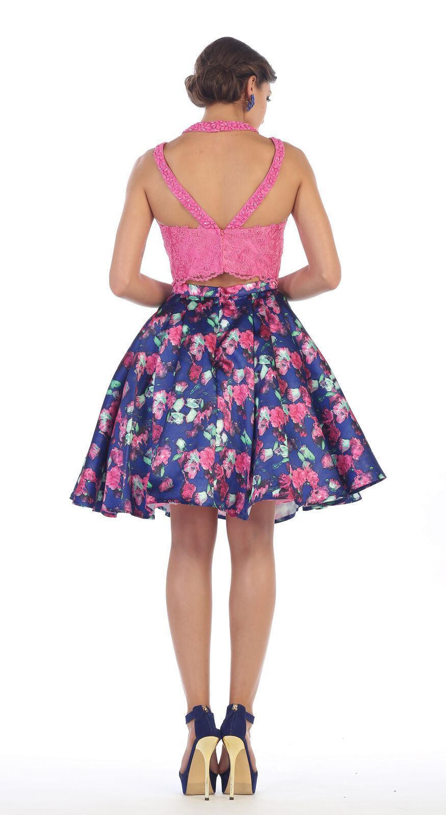 Short two piece set floral print prom dress in hocoooo