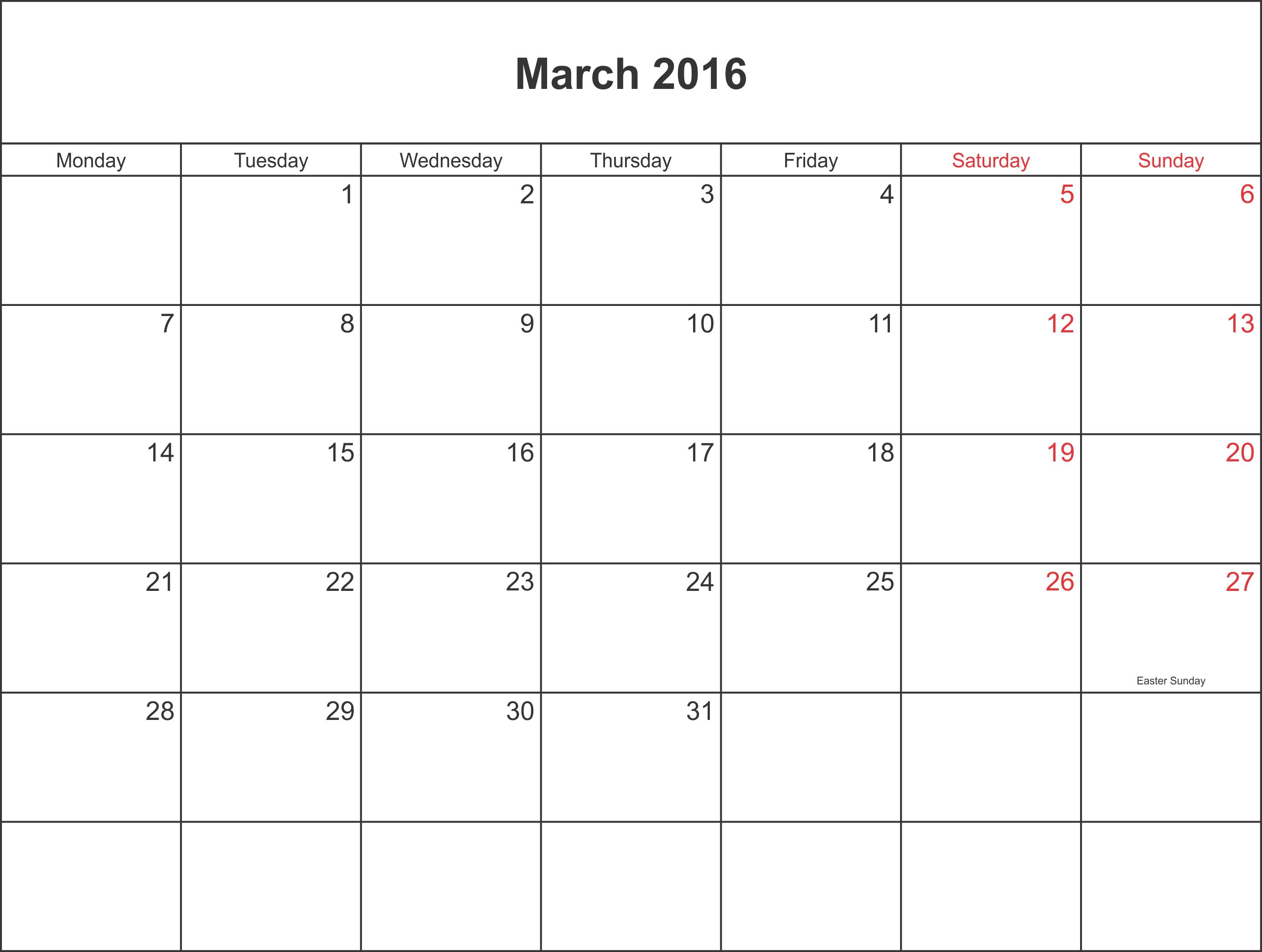March 2016 Calendar Printable Calendar 2016 2017 | Calender | Pinterest