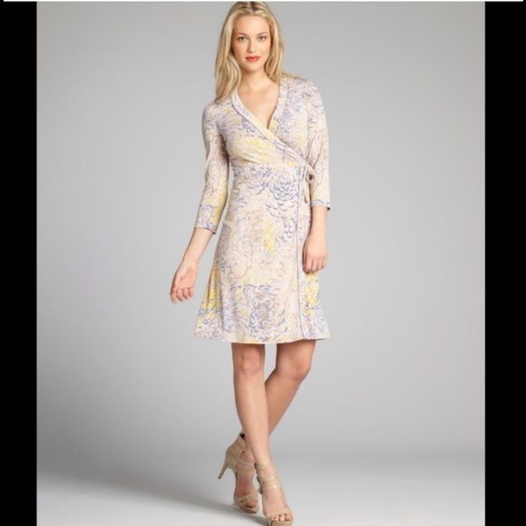BCBGMaxazria multicolor Adele printed wrap dress BCBGMaxazria multicolor Adele printed wrap dress. V- neck band waisted wrap dress with side tie , three qaurter sleeve. Please ask any questions BCBGMaxAzria Dresses