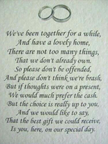 Monetary Gifts Poem Wedding Gift Wording Poems For Money