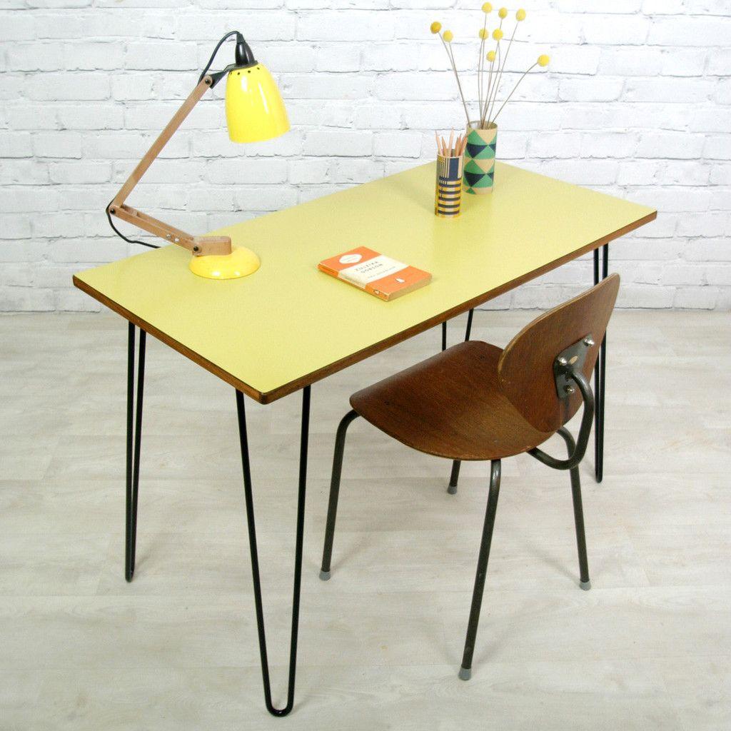 Vintage School Formica Hairpin Leg Desk Table Decoracao Garrafas De Vidro Vintage