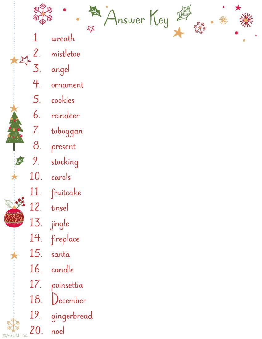 Christmas Word Scramble Answer Key Christmas word