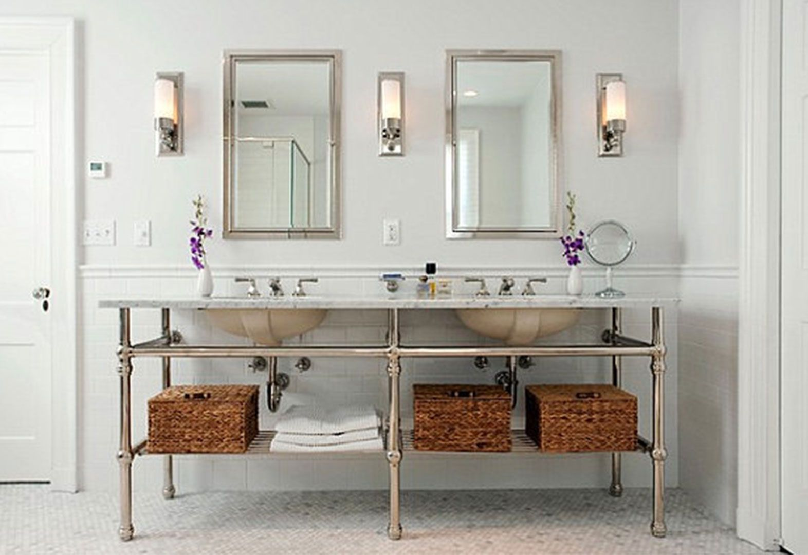 Bathroom lamp design ideas elegant bathroom lighting ideas with bathroom lamp design ideas elegant bathroom lighting ideas with double rectangular mirror and luxurious frosted lamp aloadofball Gallery
