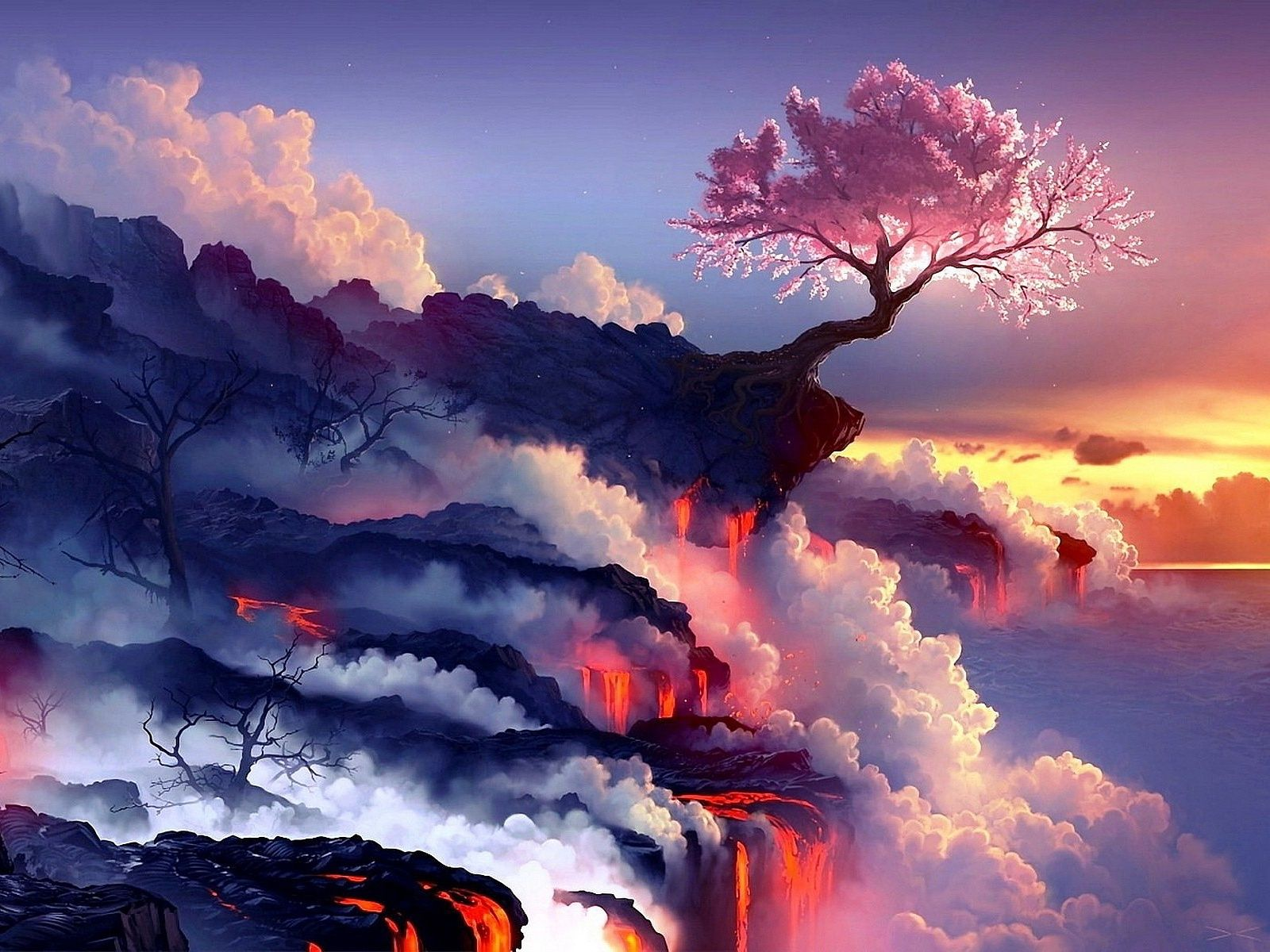 Japan Cherry Tree In Valcano Landscape Wallpaper Volcano Wallpaper Fantasy Landscape