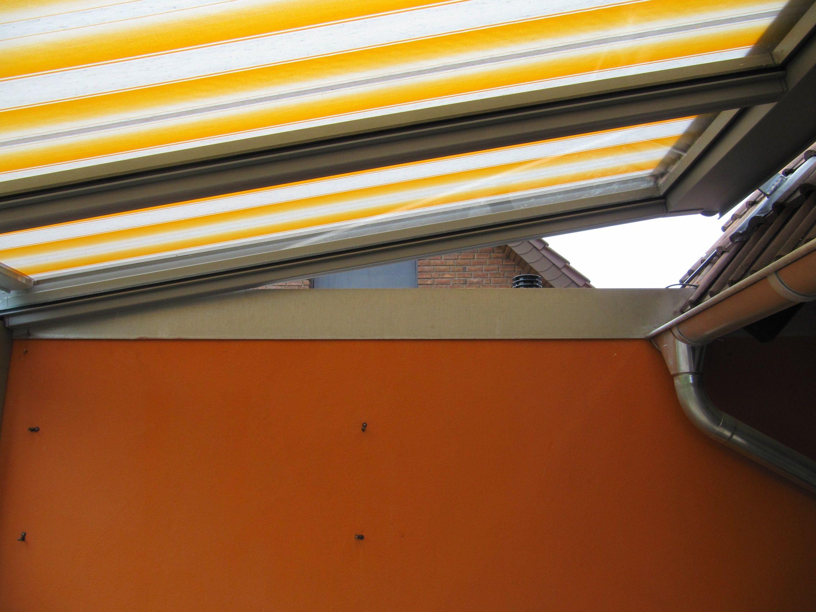 aufdachmontage hier ein terrassendach machen wir auch bei markisen so blick von der seite