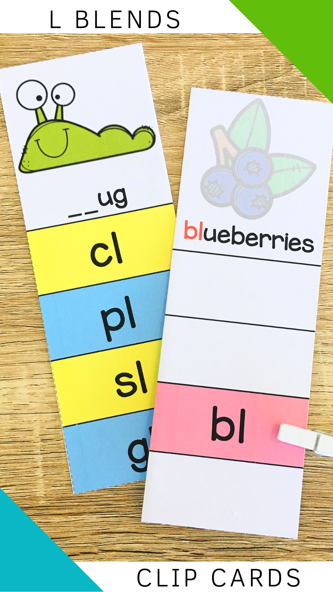 Consonant Blends Clip Cards Poster Worksheet L Blends