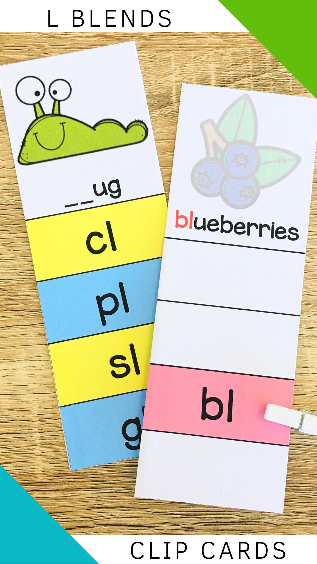 Consonant Blends Clip Cards Poster Worksheet L Blends