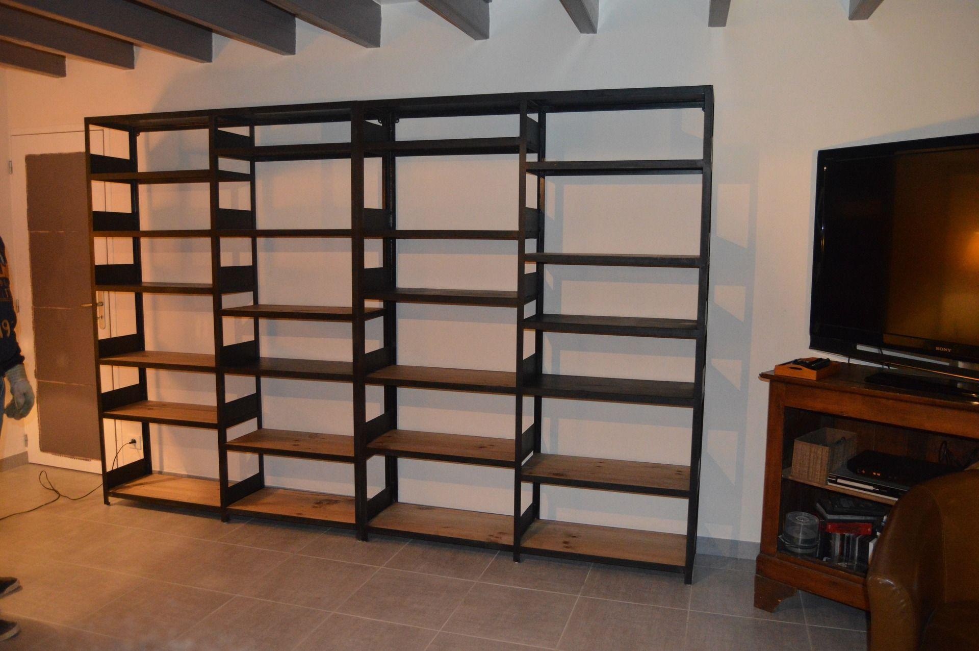 Meuble Industriel Biblioth Que Acier Et Bois Bibliotheque  # Bibliotheque Meuble
