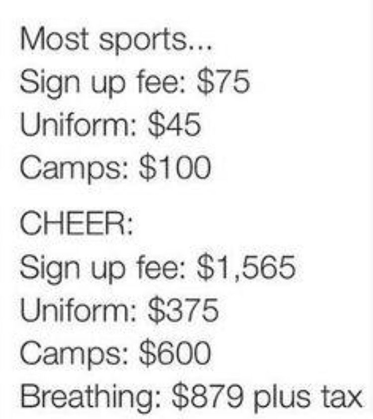 Cheerleading cost compared to other sports 😂 accuracy ...