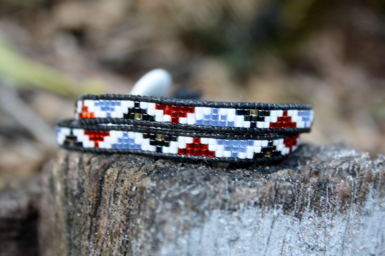 Handmade Double Wrap Chan Luu Style Miyuki Delica Seed Bead Bracelet Red, Blue, White, Black by BijouBangles on Etsy