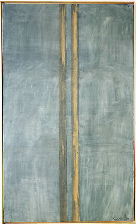 Barnett Newman, Concord, 1949 From the Metropolitan Museum of Art:  In 1948 Barnett Newman began painting in a new and unique format. Abandoning the use of various other abstract elements on the canvas, Newman instead laid down one or more vertical bands, usually with the help of masking tape. Concords green layer of paint is uncharacteristically brushy.