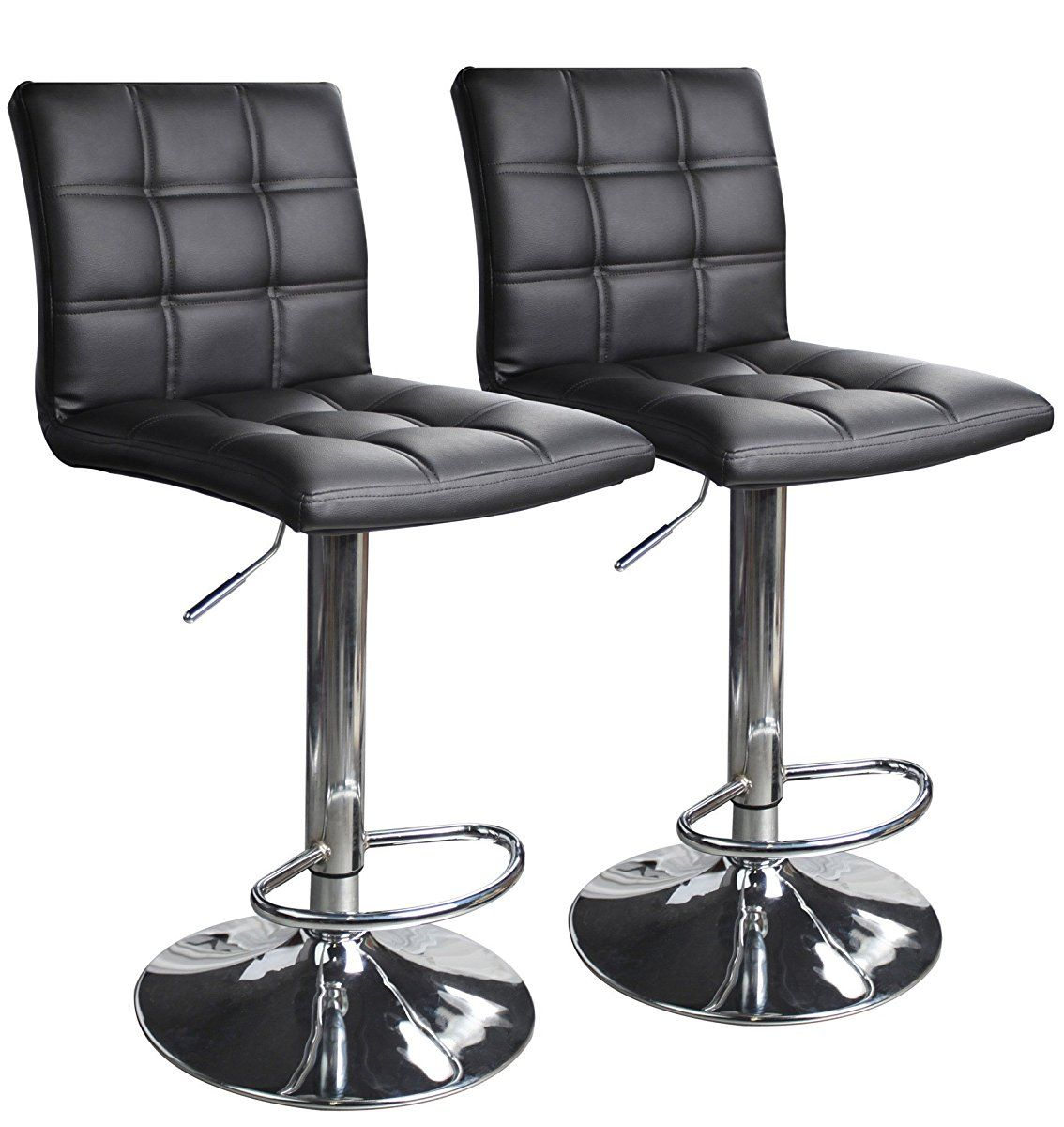 Modern Square Leather Adjustable Bar Stools With Back Set Of 2