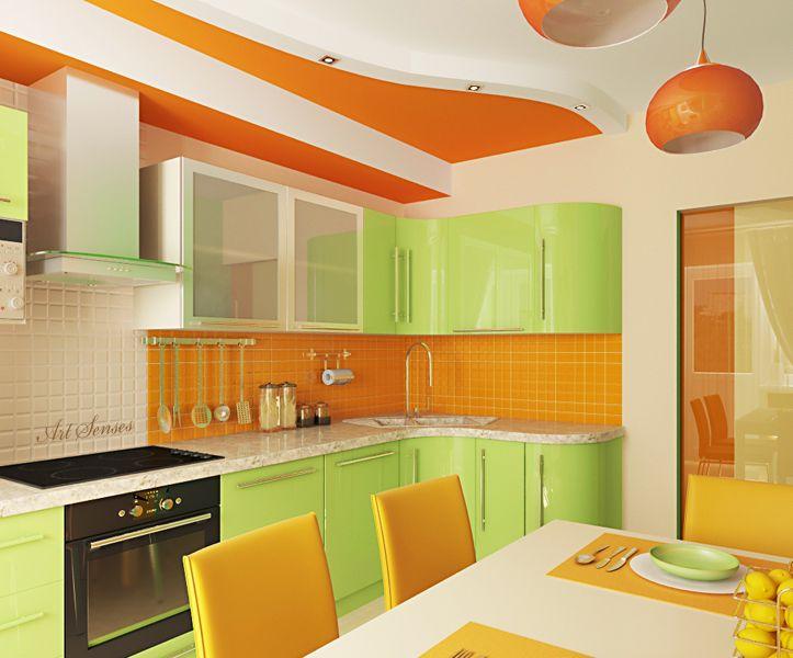 основное кухня зеленого и оранжевого цвета фото подвесной системы