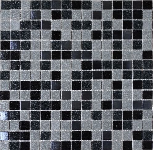 Mosaique Piscine Ou Salle De Bain En Pate De Verre Onix Melange Gris Et Noir Avec Des Carreaux Noirs Metal Mosaique Piscine Verre Carreaux Noirs