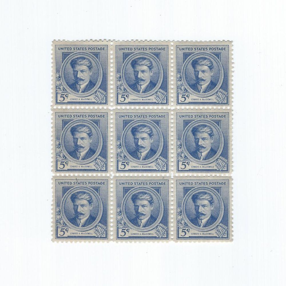 Plate Block 9 US Postage Stamps Scott 882 Edward MacDowell 1940 NH 5 Cent