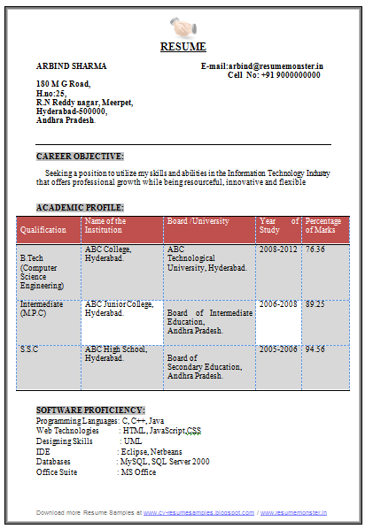 Computer Science And Enginerring Resume Sample 1 Engineering Resume College Resume Template Resume Examples