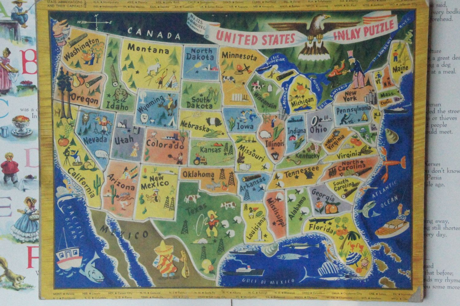 United States Inlay Puzzle No. 125 A.M.Walzer Co