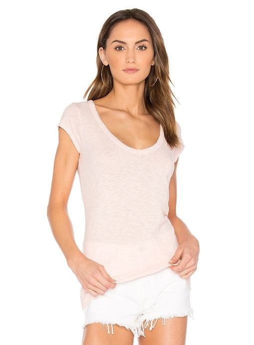 VELVET By Graham & Spencer Sumette Short Sleeve Cotton Slub Top Tee Pink S $88 #VelvetbyGrahamSpencer #Tee #Casual