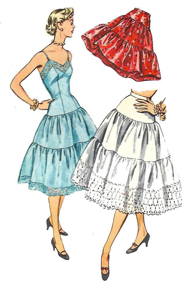 Vintage 1950\'s Sewing Pattern Rockabilly Slip & Petticoat Swing Bust ...
