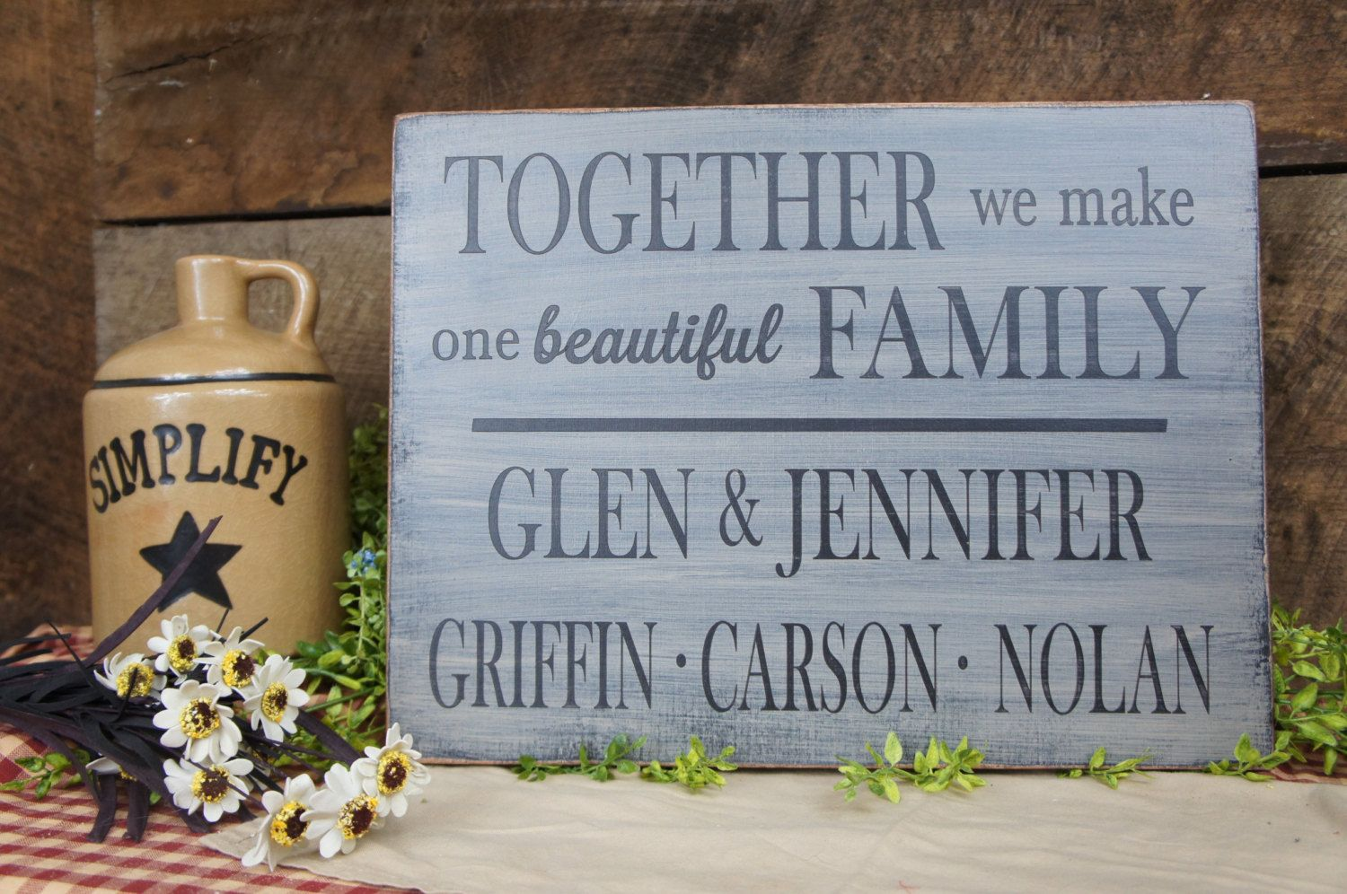 Personalized family sign TOGETHER we make one beautiful FAMILY, mom ...