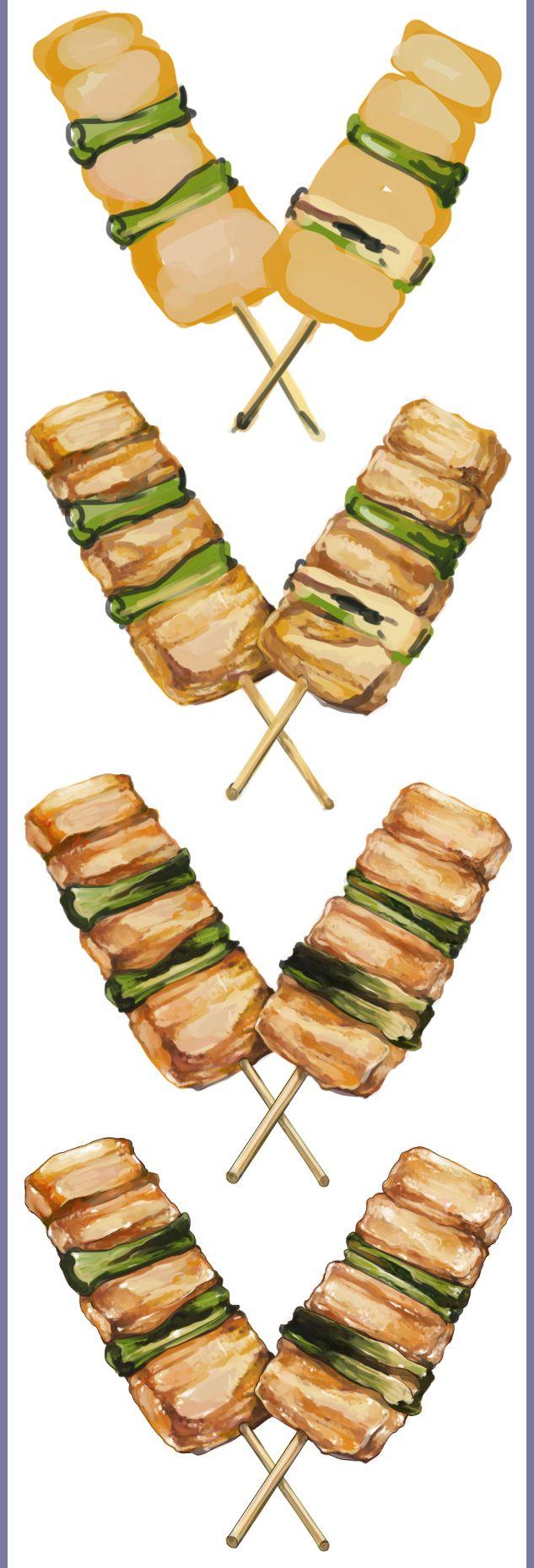 豚串とアンキモ うずしの日課 食べ物 イラスト 居酒屋 イラスト 食品イラスト