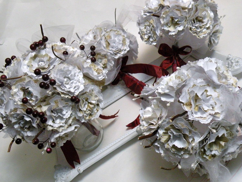 CUSTOM Wedding Bouquet - B R I D E - Handmade Paper Flowers - Large Bouquet - Bridal Bouquet. $60.00, via Etsy.