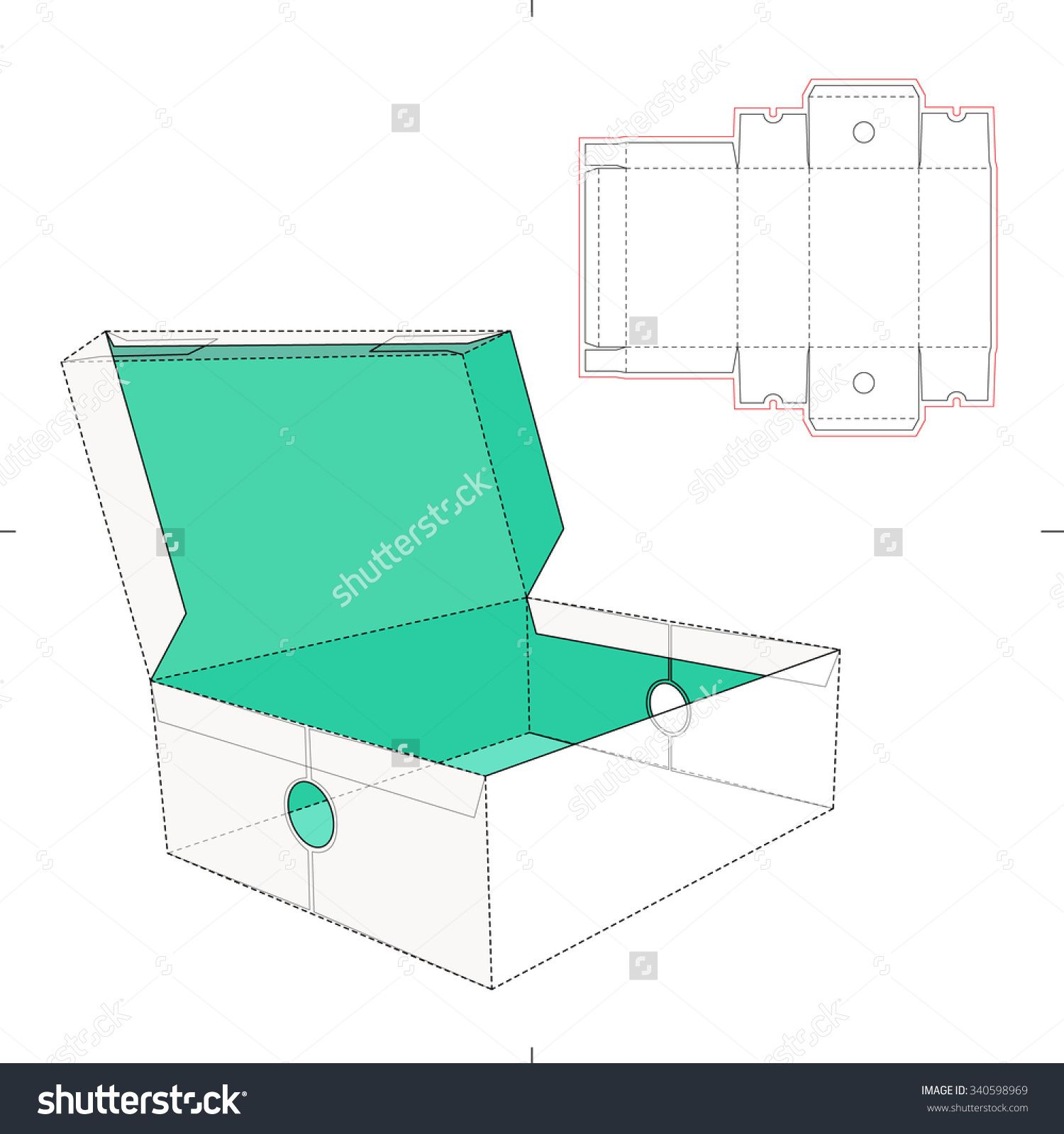 Open Shoes Box With Die Cut Template Stock Vector