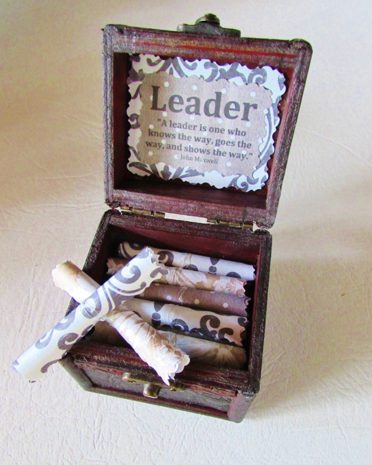 Leadership Gift For Boss Wood Chest With Inspirational Quotes About Unique Personalized Birthday Christmas Day